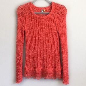 Anthropologie Chunky Sweater With Lace Hem Size XS